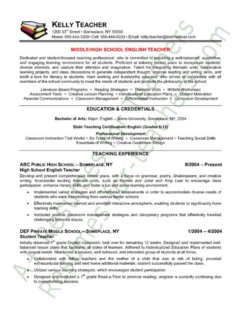 Exles Of Resumes For Teachers by Resume Resume Sle