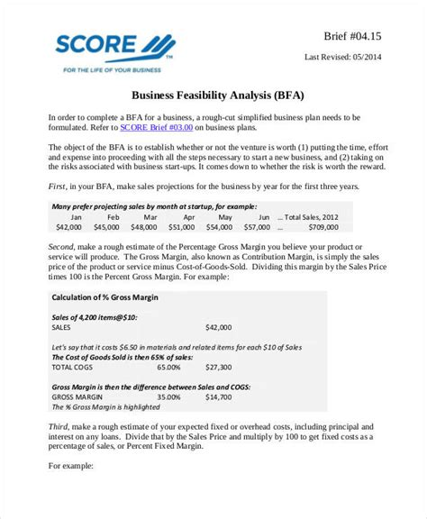Business Feasibility Study Template Free by Feasibility Analysis Templates 8 Free Word Pdf