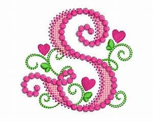 Cute Letter S Alphabet for Lil Princess Hearts Applique