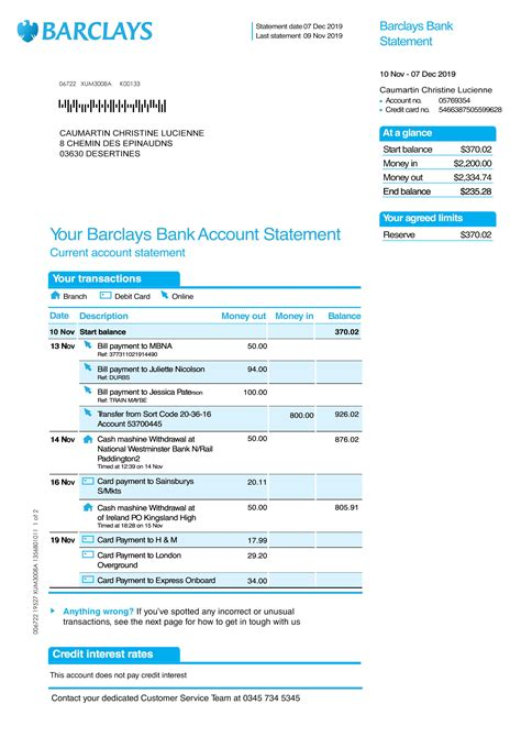 bank statement barclays template psd payment