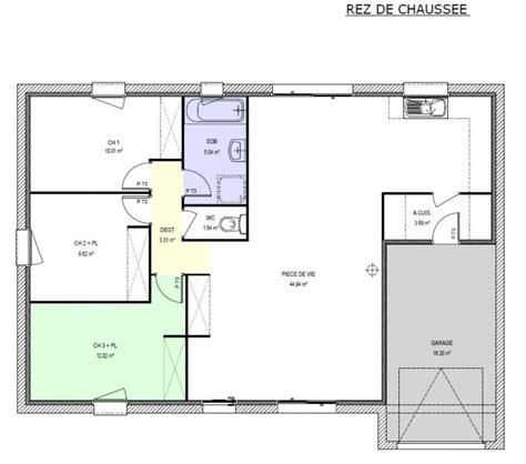 plan maison 3 chambre plan maison 100m2 3 chambres plan de maison plain pied