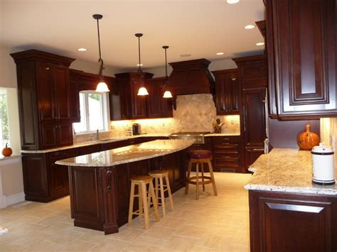 dark cherry kitchen remodel beforeafter traditional