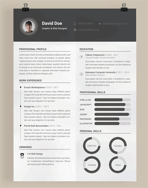 Free Resume Creation by 20 Beautiful Free Resume Templates For Designers