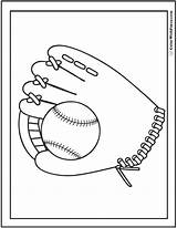 Baseball Coloring Glove Ball Pdf sketch template