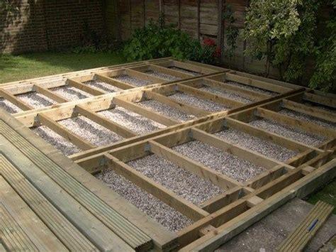 deck joists beams  level deck  deck garden