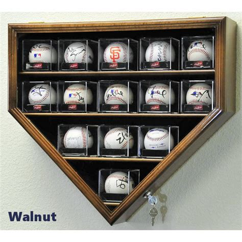 baseball arcylic cubes home plate display case cabinet holder wall rack  uv protection