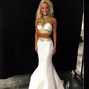 Sexy Long Backless Mermaid White Gold Prom Dresses 2016 ...