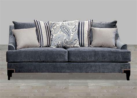 Nailhead Trim Loveseat by Contemporary Slate Blue Fabric Sofa With Nailhead Trim