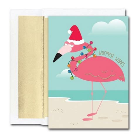For those who love sending christmas greeting cards by hand, we offer a merry assortment of printable christmas cards and christmas paper cards to. Funny Flamingo Holiday Cards with Gold Foil Lined ...