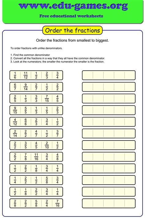 ordering fractions  denominators worksheet