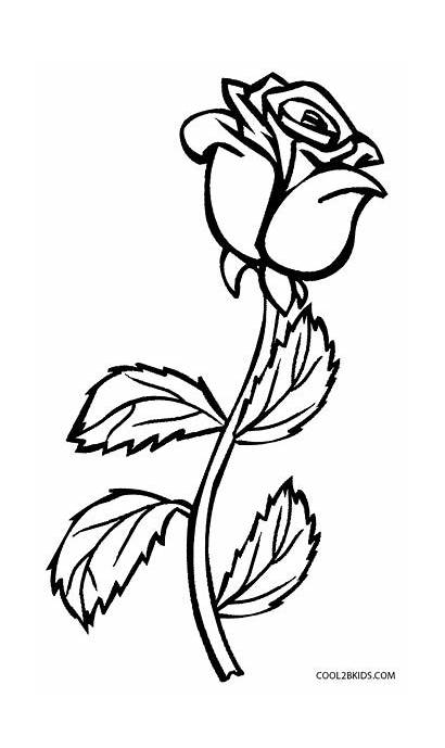 Coloring Roses Rose Pages Cross Flower Drawing