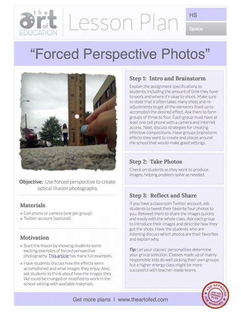 Forced Perspective Photos Free Lesson Plan Download  The Art Of Ed