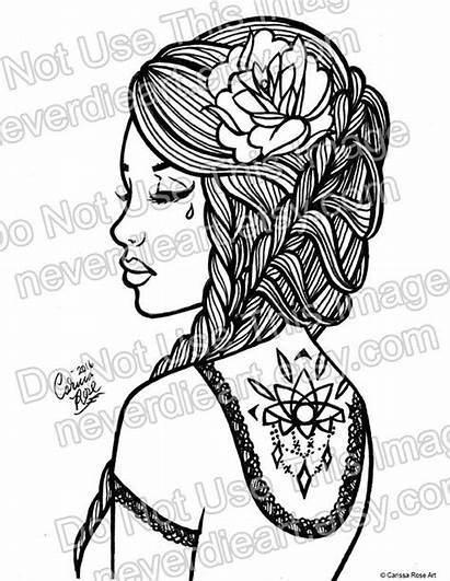 Coloring Outline Pages Digital Rose Own Hair