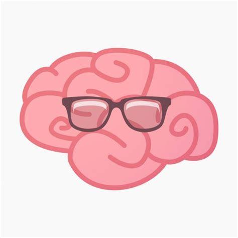 Personagem cerebral com óculos e piscadela expressão em