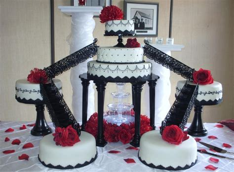 Red, Black, & White Fountain Wedding Cake By Today's Sweet