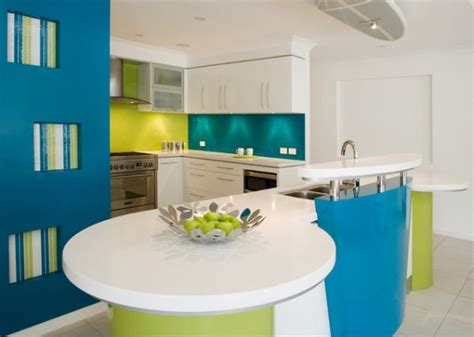 the of a turquoise kitchen island