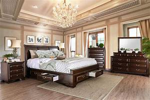 Brown, Cherry, Bedroom, Furniture, 4pc, Set, Eastern, King, Size, Bed, Dresser, Mirror, Nightstand, Storage