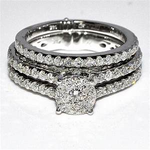 wedding ring wedding rings set 175ct 14k white gold 3 With 3 piece wedding ring sets