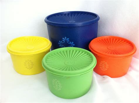 vintage tupperware vintage tupperware canisters orange yellow blue green