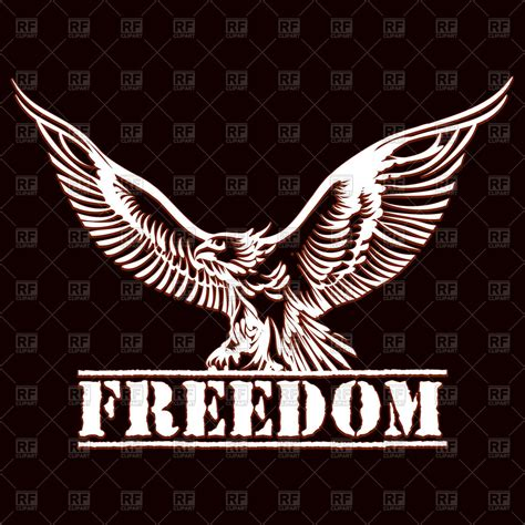Freedom Clipart Eagle With Spread Wings And Inscription Freedom Royalty