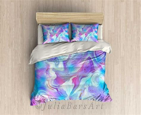 modern bedding set blue turquoise purple pink duvet cover