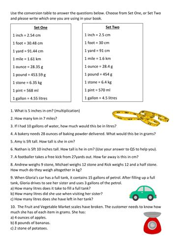 metric and imperial word problems by lrigby94 teaching