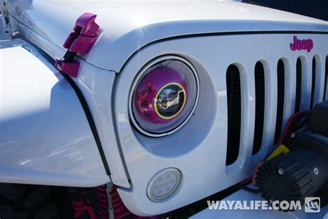 white and teal jeep 2014 sema white pink dub jeep jk wrangler unlimited