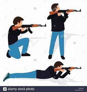 Man Shooting Rifle Gun Weapon Position Shot Action Firearm