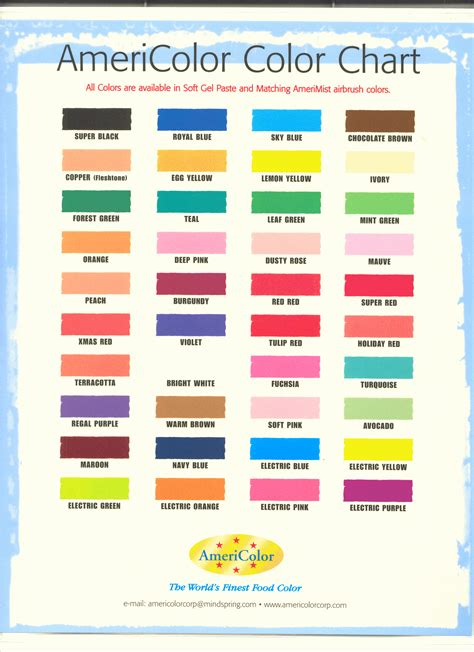 food coloring chart americolor colour chart blending chart for americolor gels
