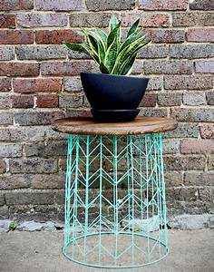 Side, Table, From, A, Wire, Basket
