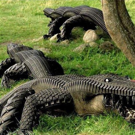 backyard jungle metal tire alligators neatorama