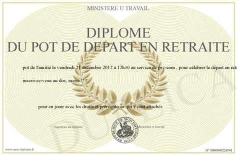 diplome du pot de depart en retraite