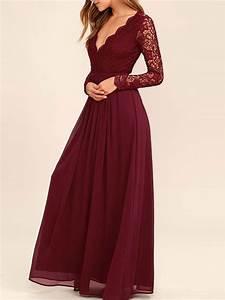 Lace Bodice Burgundy Chiffon Bridesmaid Dresses,Simple