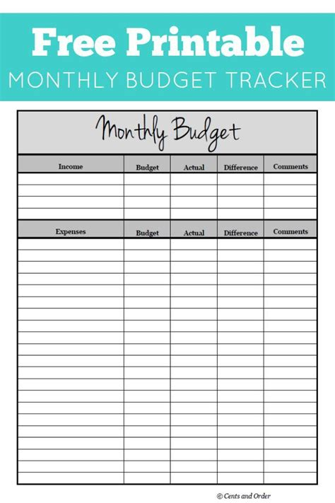 free monthly budget printable diy ideas