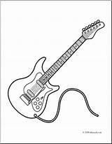 Guitar Electric Coloring Clip Abcteach Clipart Rock sketch template