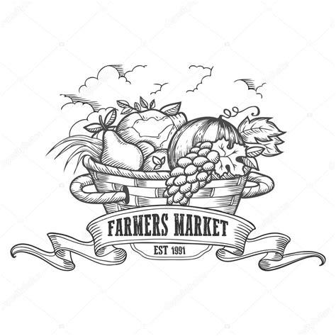 farmers market badge monochrome vintage engraving fresh