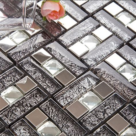 black glass tiles for kitchen backsplashes silver 304 stainless steel mosaic tile black glass