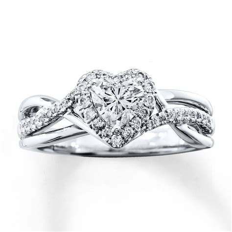 diamond engagement ring 3 4 ct tw heart shaped 14k white gold 80590110 sterlingjewelers