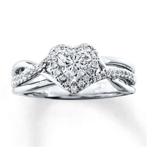 diamond engagement ring 3 4 ct tw heart shaped 14k white