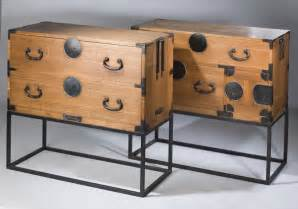 Pair of antique korean wooden chests of drawers on modern
