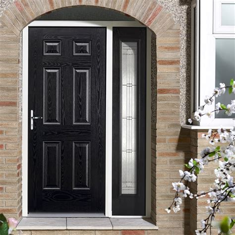 grp black white colonial  panel composite door leaded single side
