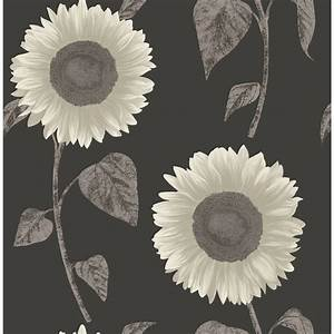 Sunflower Motif Wallpaper - Silver DIY Wallpaper - B&M