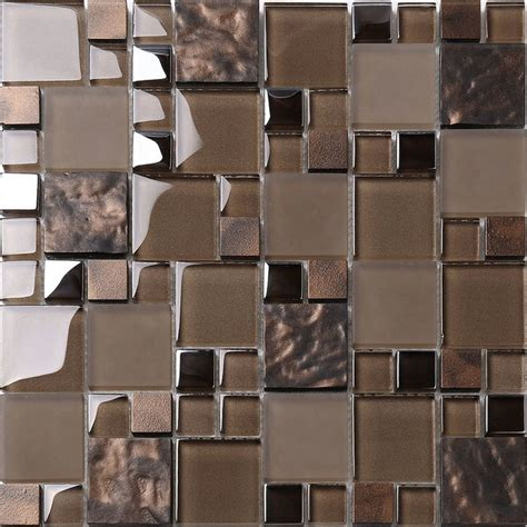 tile sheets for kitchen backsplash brown glass mosaic kitchen backsplash tile 12 quot x 12 quot sheet contemporary mosaic tile by