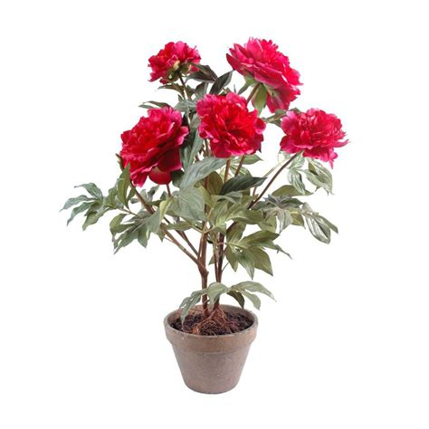 pivoine artificiel pot terre 65 cm plantes fleuries reflets nature lyon