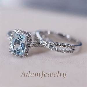 Elegant wedding engagement ring set genuine aquamarine for Aquamarine wedding ring sets