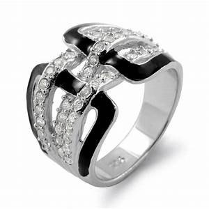 Black Onyx Round Anniversary Cubic Zirconia Wedding Band
