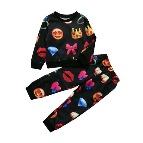 MUQGEW Toddler Kids Boys Girls Cute Emoji Outfits T Shirt Tops +Pants Set Clothes tracksuits for ...