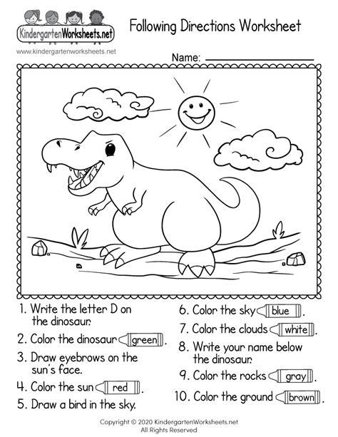 directions worksheet  kindergarten