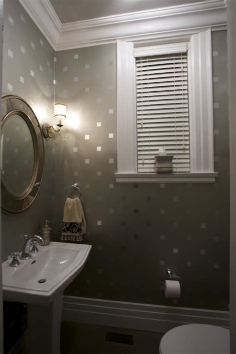Bathroom Stencil Ideas by Stencil Squares With Metallic Paint For A Bit Of Sparkle