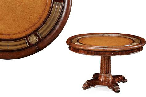 round poker table with dining round leather top poker table mahogany games table